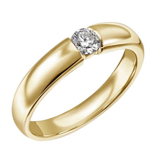 Damenring Solitär 585 Gelbgold 1 Brillant 0,25 ct. SI1/H