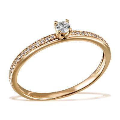 Damenring Verlobungsring Fabienne 585 Gelbgold 29 Brillanten zus. 0,18 ct.