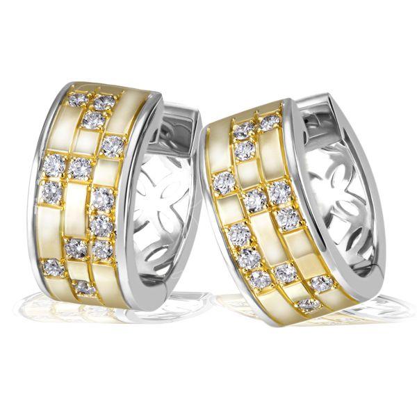 Paar Creolen 925 Sterlingsilber 26 weiße Zirkonia teils gelbvergoldet