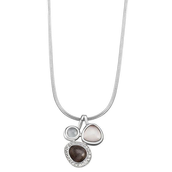 Collier Halskette 925 Sterlingsilber poliert Glassteine Cabochon Schlangenkette