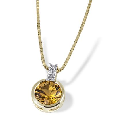 Collier Halskette 585 Gelbgold 1 Citrin Edelstein, 2 Diamanten zus. 0,02 ct.