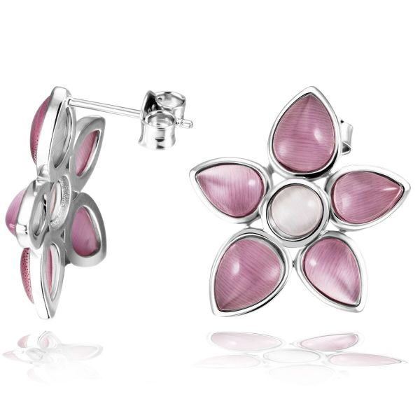 Paar Ohrstecker 925 Sterlingsilber Ohrringe Blütenmotiv 12 rosa Glassteine