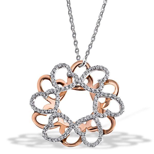 Collier Halskette Herz Glamour 925 Silber vergoldet 120 Zirkonia weiß