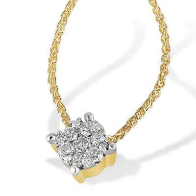 Collier Halskette Glamour 585 Gelbgold Zopfkette 13 Brillanten zus. 0,22 ct.