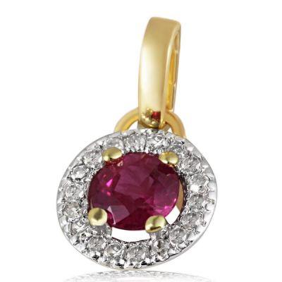 Anhänger 375 Gelbgold 1 Rubin Edelstein 0,30 ct., 18 Diamanten zus. 0,07 ct.