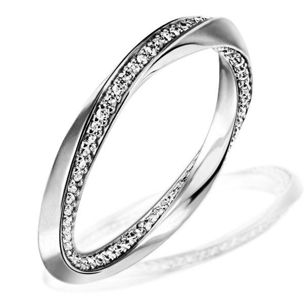 Damenring Twister 375 Weissgold mit 105 Diamanten 0,40 ct.
