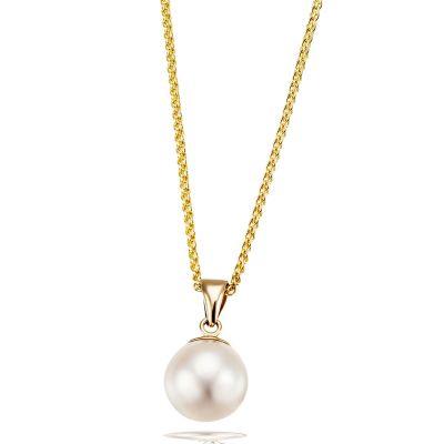 Collier Halskette 585 Gelbgold mit 1 Süßwasserzuchtperle weiß