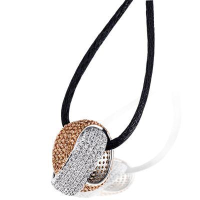 Collier Halskette Halbkugel Champagner 925 Silber 318 Zirkonia Seidenkette