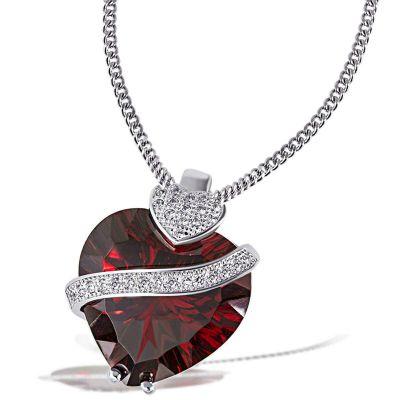 Collier Halskette 925 Silber Anhänger im Millenium-Cut Granat Herz