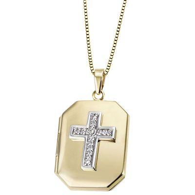 Collier Medaillon Kreuz 585 Gelbweiß mit 1 Diamanten 0.01 ct.