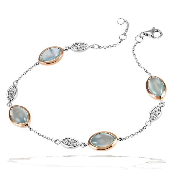 Armband 925 Sterlingsilber 32 Zirkonia, 4 Aquamarin Edelsteine zus. 6,00 ct.