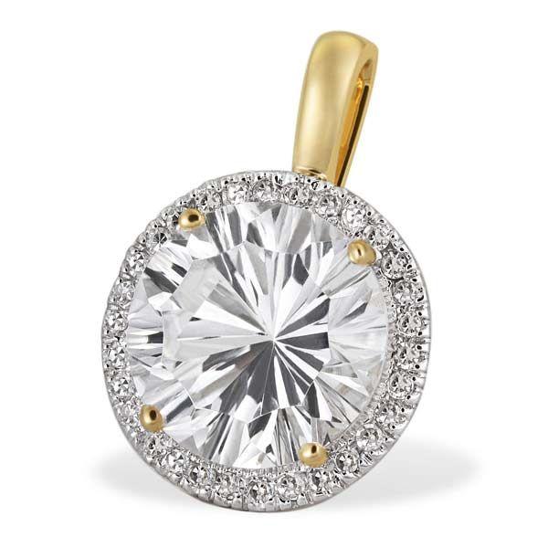 Anhänger Millenium 375 Gelbgold 1 Weißtopas 30 Diamanten zus. 0,20 ct. SI1/H
