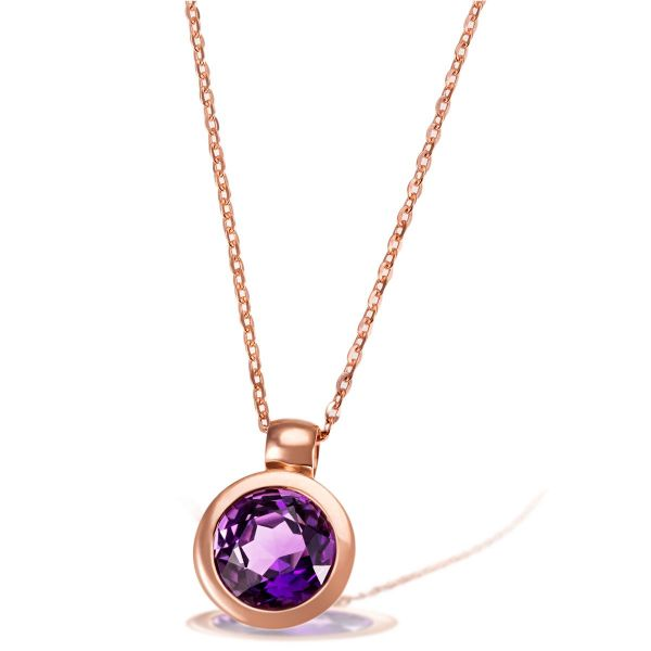 Collier 375 Rotgold Ankerkette 1 lila Amethyst Edelstein 2,52 ct.
