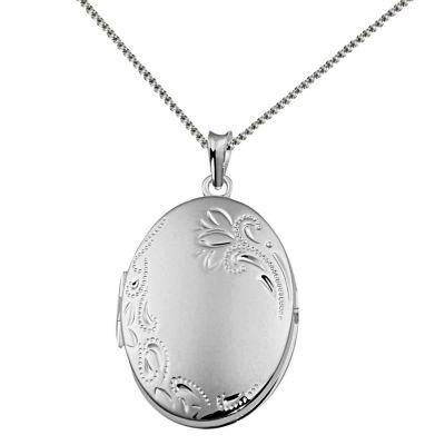 Collier Halskette 925 Sterlingsilber Medaillon Amulett Anhänger Blätter
