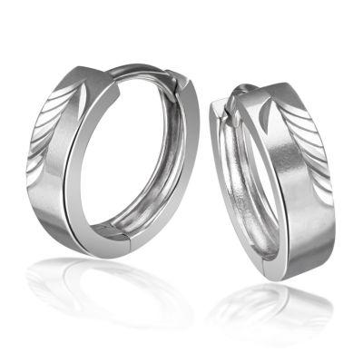 Paar Creolen 925 Sterlingsilber diamantiert 14 mm Durchmesser