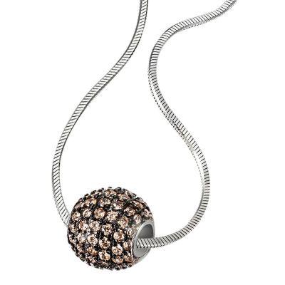 Collier Halskette Pavee Kugel 925 Sterlingsilber 92 Zirkonia champagnerfarben