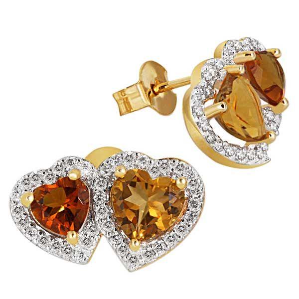 Paar Ohrstecker Herzen 585 Gelbgold Citrin orange gelb 76 Brillanten SI1/H zus. 0,40 ct.