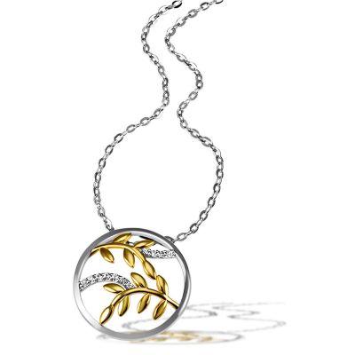 Collier Halskette Bay Leaves 925 Silber 11 weiße Zirkonia teils gelb vergoldet
