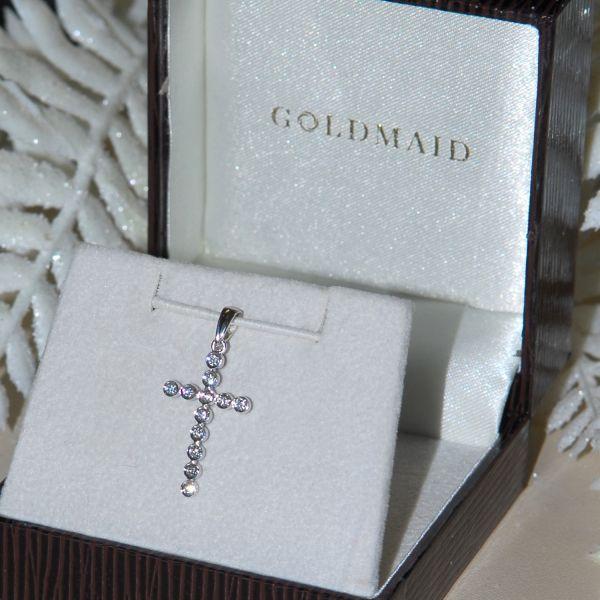 Anhänger Kreuz 585 Weißgold 12 Diamanten zus. 0.18 ct SI1/H