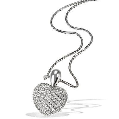 Collier Halskette Paveeherz 585 Weißgold 164 Diamanten zus. 1,12 ct. SI1/H