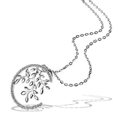 Collier Halskette Bay Leaves 925 Sterlingsilber 15 weiße Zirkonia