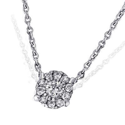 Collier Halskette 375 Weißgold Ankerkette 11 Diamanten zus. 0,08 ct.