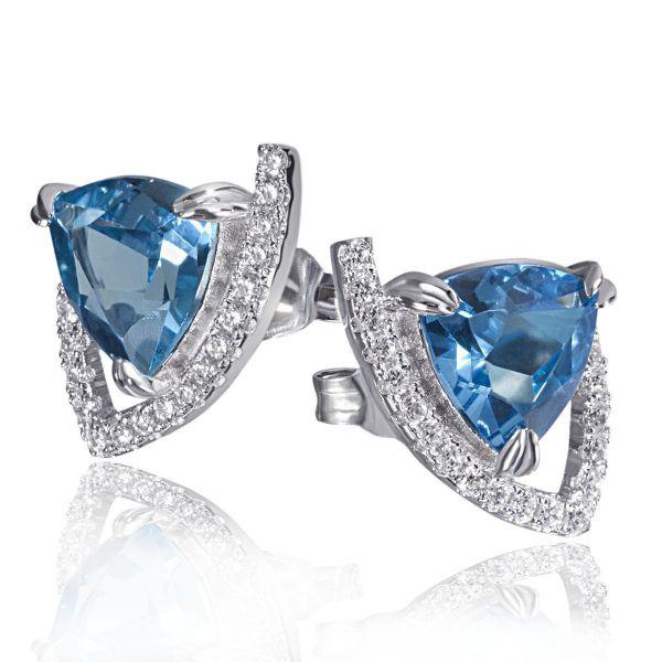 Paar Ohrstecker Blue Filigree 925 Sterlingsilber 2 Topas Edelsteine 38 weiße Zirkonia