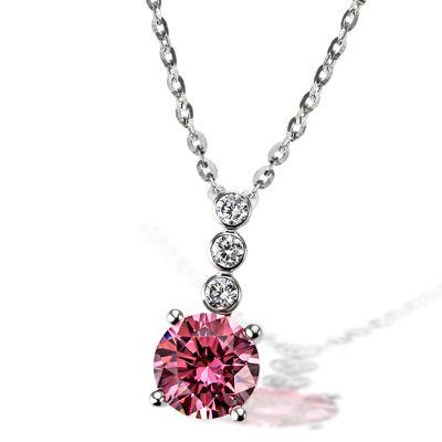 Collier Fancy Pink 925 Sterlingsilber 3 weiße Zirkonia 1 pinker Zirkonia
