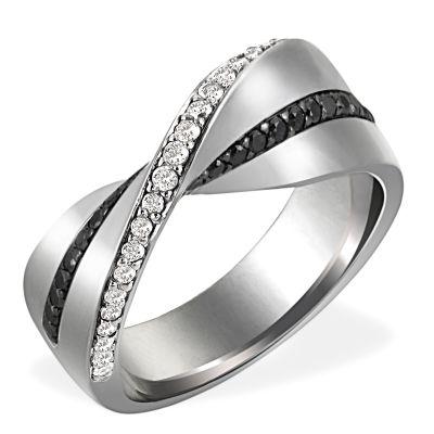 Damenring Rhutenium 750 Weißgold 28 schwarze Brillanten 25 Diamanten zus. 0,54 ct.