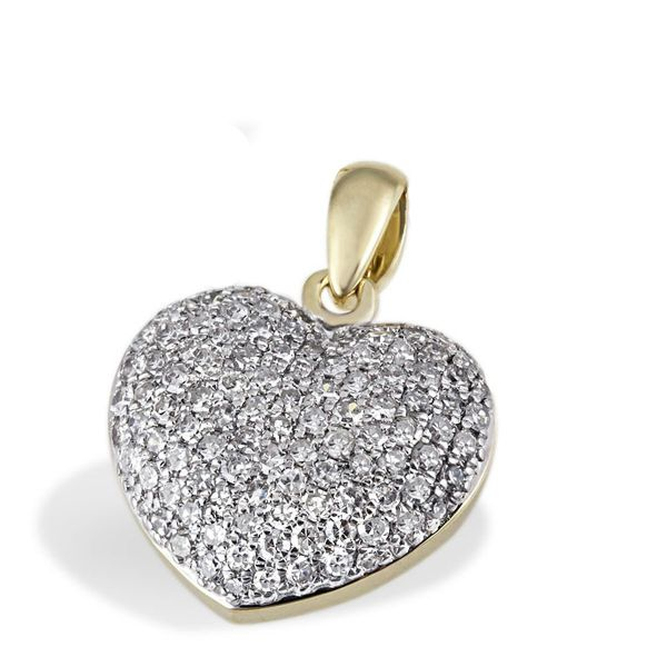 Anhänger Pavee Herz 585 Gelbgold 112 Diamanten zus. 0,75 ct. SI1/H