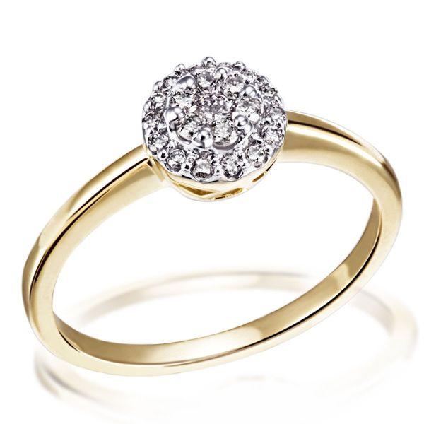Damenring Glamour 585/- Gelbgold 21 Brillanten zus. 0,25 ct.