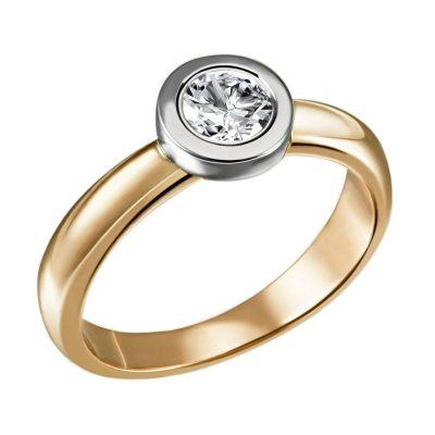 Stella Ring 750/- Gold Bicolor 1 Brillant 0,50 ct. Lupenrein oder SI inkl. IGI Gutachten