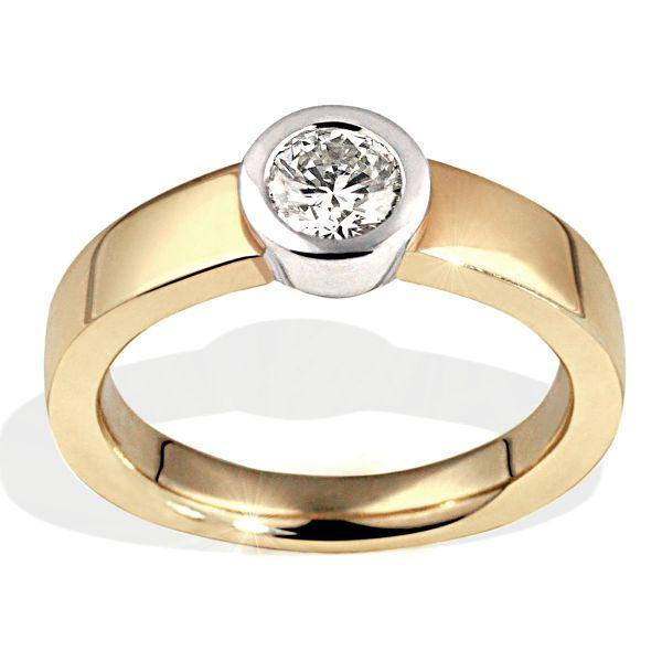 Damen Ring Solitär Zarge 585 Gelbgold Brillant 0,50 ct. Halbkaräter Lupenrein