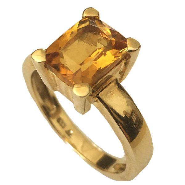 Damenring 333 Gelbgold 1 gelber Citrin Baguetteschliff