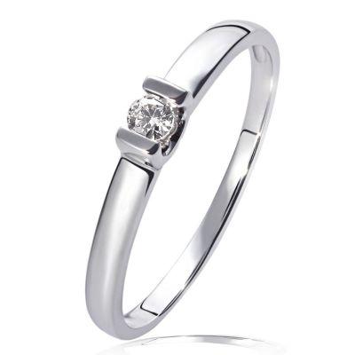 Damenring 585 Weißgold Verlobungsring 1 Brillant 0,08 ct.