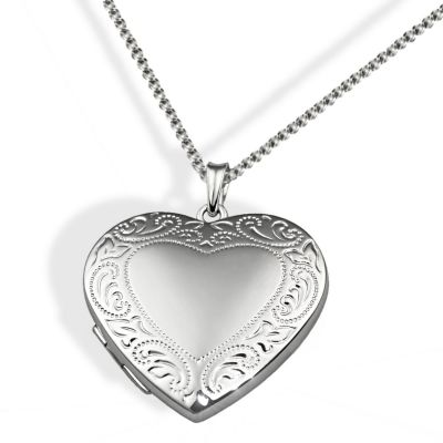 Collier Halskette 925 Sterlingsilber Medaillon Amulett Anhänger Herz Prägung