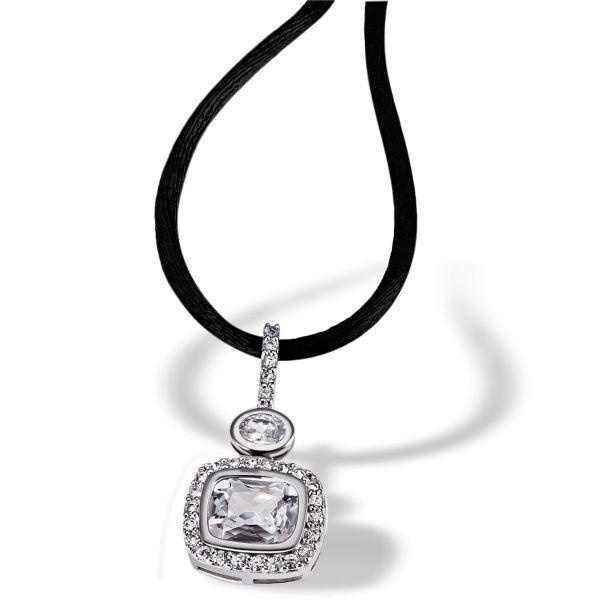 Collier Halskette Achteckschliff 925 Sterlingsilber 29 Zirkonia weiß