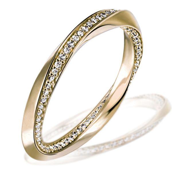 Damenring Twister 375 Gelbgold mit 105 Diamanten 0,40 ct.