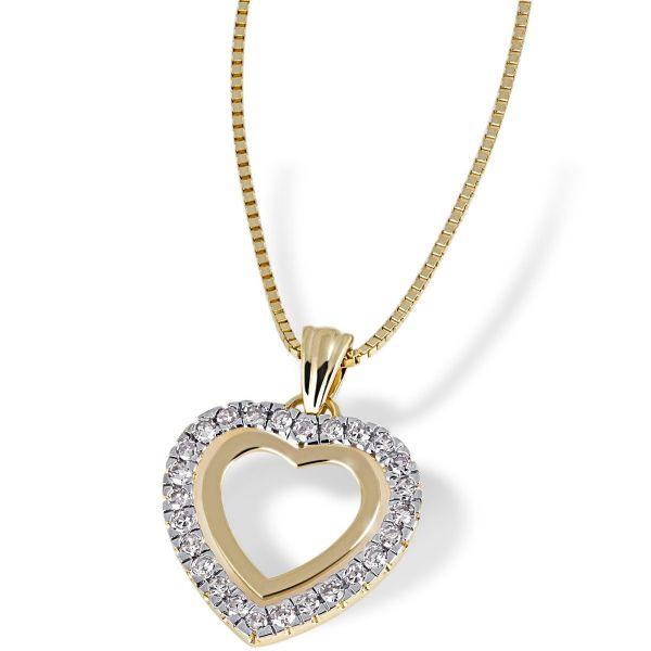 Collier Herz 585 Gelbgold Venezianerkette 26 Diamanten zus. 0,25 ct.