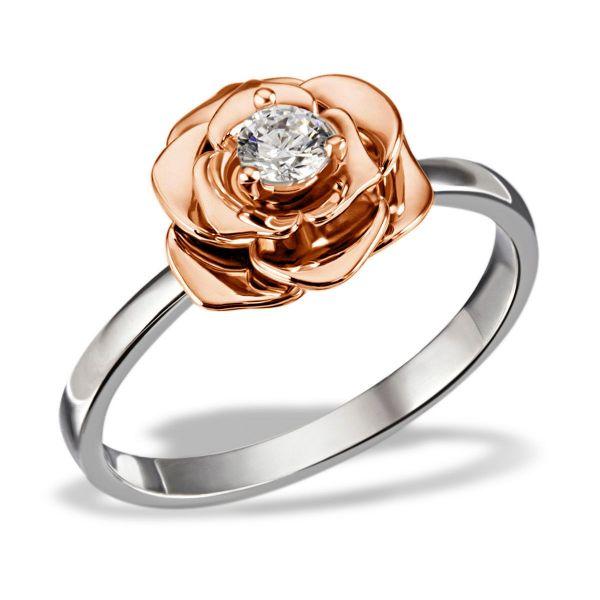 Damenring Lovely Rosé 925/- Sterlingsilber teilweise rotvergoldet 1 Swarovski Zirkonia