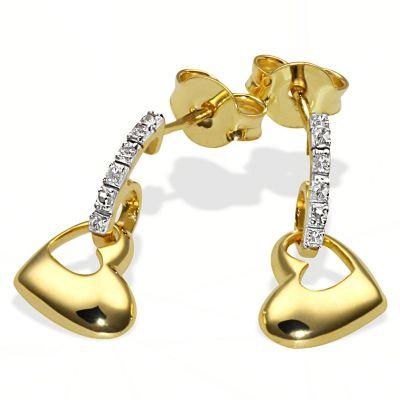 Paar Ohrhänger Herzen 375 Gelbgold 6 Diamanten zus. 0,03 ct. SI1/H