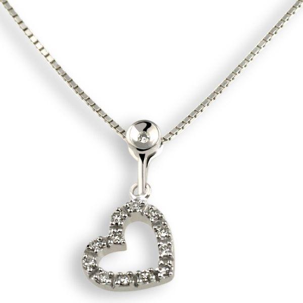 Collier Halskette Herz 375 Weißgold 13 Diamanten zus. 0,07 ct. SI1/H
