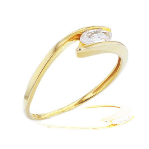 Damenring 333/- Gelbgold 1 Zirkonia Navetteform