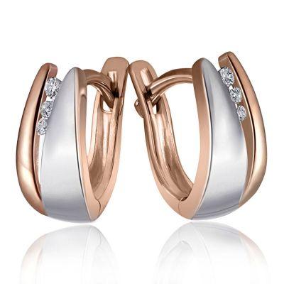 Paar Creolen White Diamonds 925 Sterlingsilber 6 Diamanten zus. 0,04 ct.