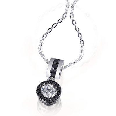 Collier Black Eye 925 Sterlingsilber 1 weißer und 17 schwarze Zirkonia