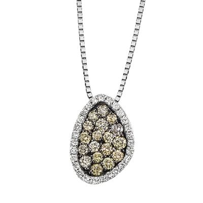 Collier Halskette 585 Weißgold 45 Brillanten zus. 0,43 ct.
