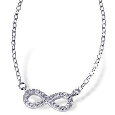 Collier Halskette Unendlich 925 Sterlingsilber 24 Zirkonia weiß