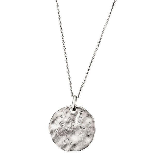 Collier Halskette 925 Sterlingsilber matt 15 weiße Zirkonia Doppel Ankerkette