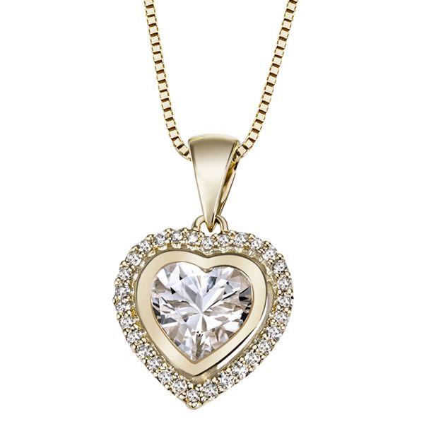 Collier Halskette Herz 585 Gelbgold 1 Weißtopas 30 Diamanten 0,16 ct. SI/H