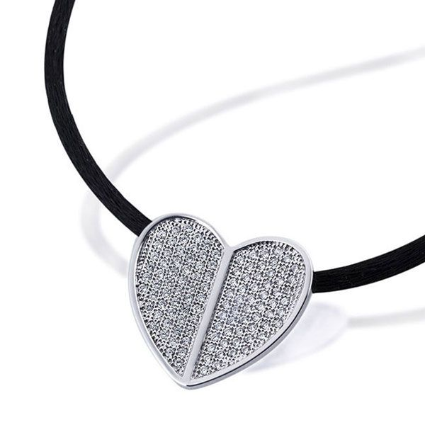 Collier Halskette Pavee Herz 925 Sterlingsilber 112 Zirkonia weiß